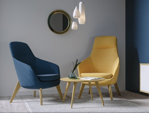 Drive Soft Seating Office High Back Chairs with Yellow and Blue Upholstered Finish and Four Wooden Legs for Meeting Rooms