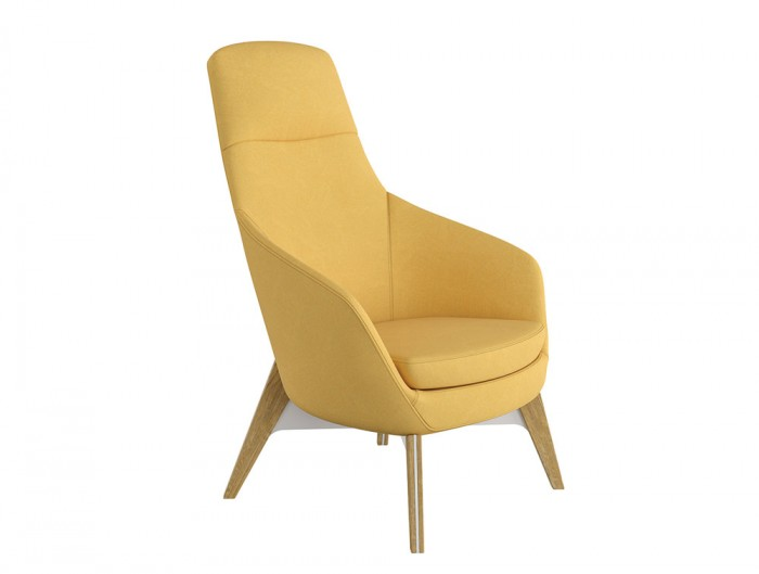 Drive Soft Seating Office High Back Chairs with Yellow Upholstered Finish and Four Wooden Legs