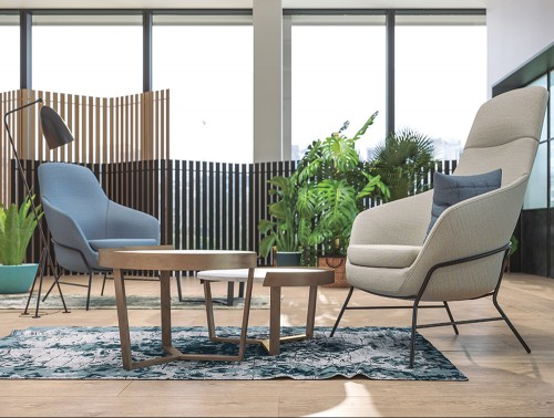 Drive Soft Seating Office Medium Back Chairs with White Upholstered Finish and Four Metal Legs with Coffee Table