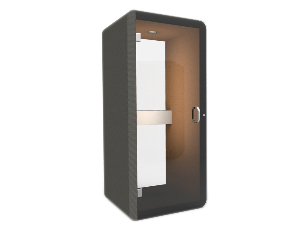 Penelope Acoustic Work Booth with Glass Back Walls and Metal Door Handle