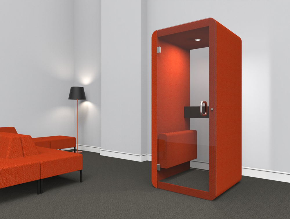 Penelope Acoustic Work Booth with Glass Back Walls and Vibrant Orange Upholstered Finish