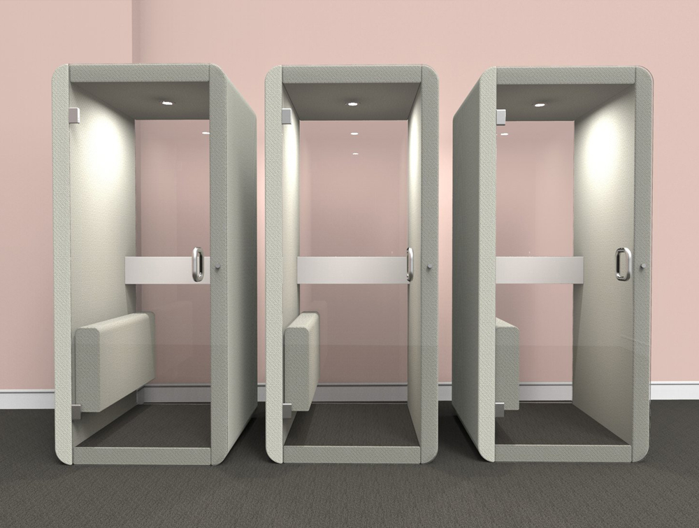 Penelope Acoustic Work Booth with Glass Door and integrated Seating