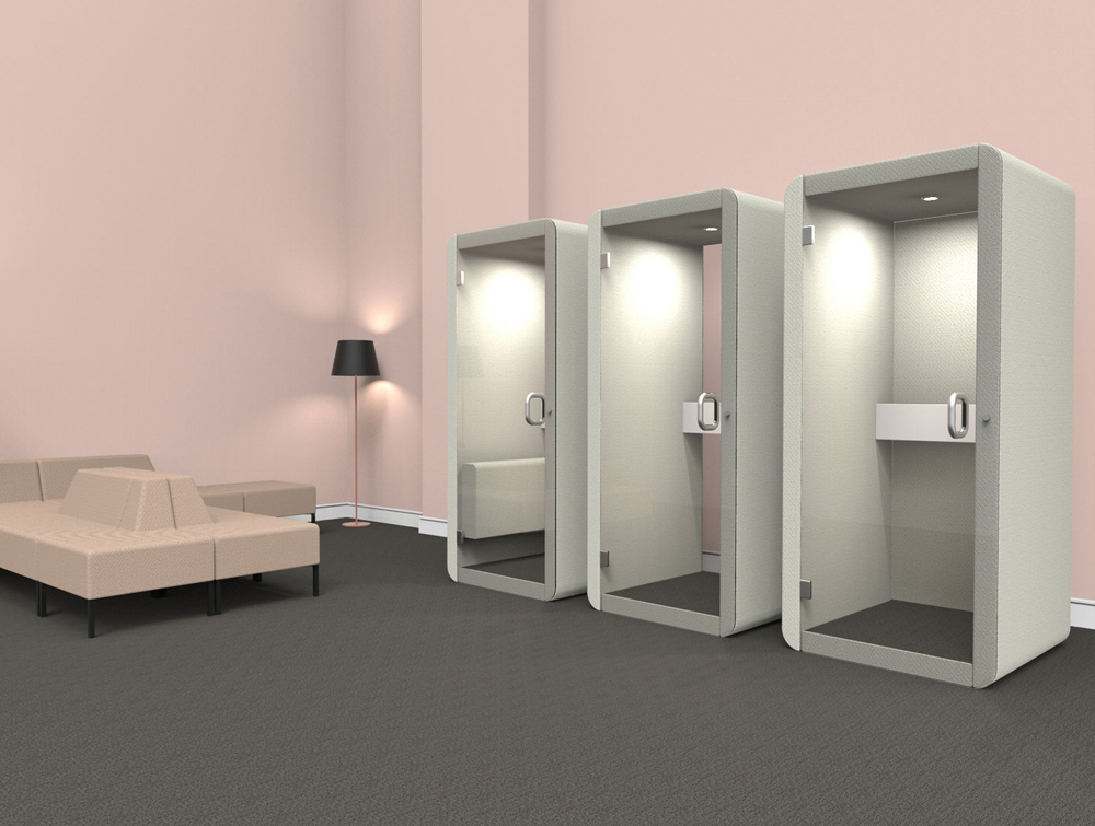 Penelope Acoustic Work Booth with Glass Door for Reception Areas