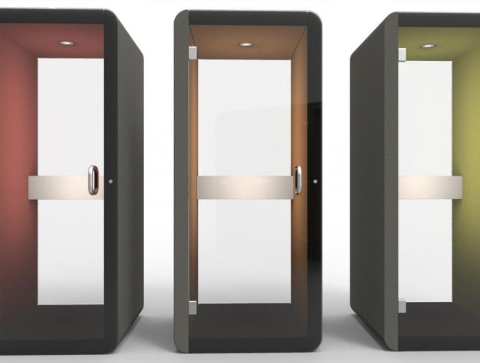 Penelope Acoustic Work Booth with Grey Upholstered Finish and Inner Coloured LED Lights