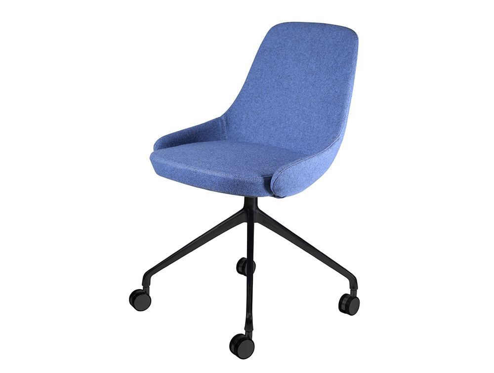 Downtown Soft Seating Office Chair with Blue Finish and 4 Star Metal Base with Castor Wheels