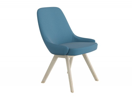 Downtown Soft Seating Office Chair with Blue Finish and Four Wooden Legs Base
