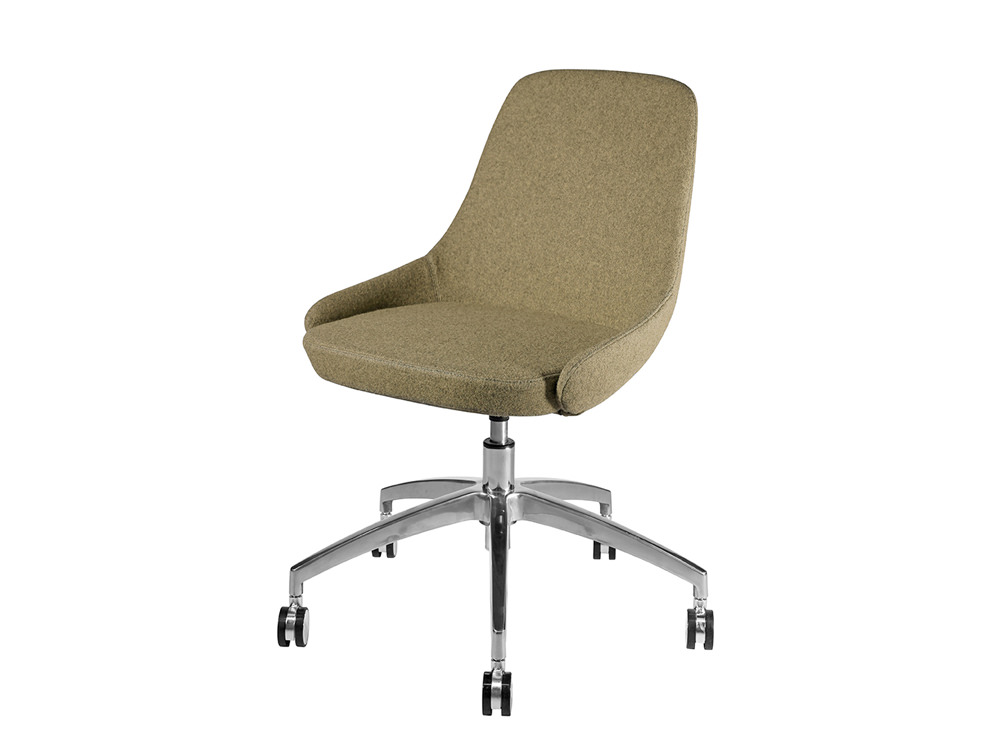 Downtown Soft Seating Office Chair with Brown Finish and 5 Star Metal Base with Castor Wheels