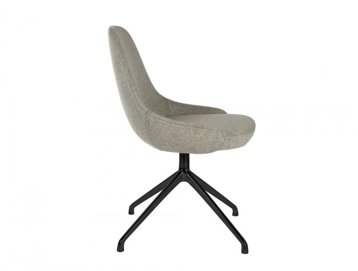 Downtown Soft Seating Office Chair with Grey Finish and Black Metal 4 Star Base