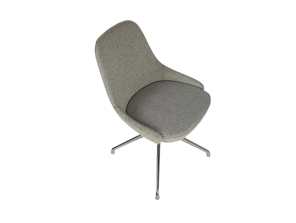 Downtown Soft Seating Office Chair with Grey Finish and Silver Metal 4 Star Base