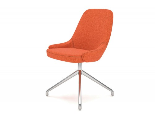 Downtown Soft Seating Office Chair with Orange Finish and Silver Metal 4 Star Base