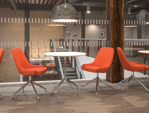 Downtown Soft Seating Office Chair with Orange Finish for Canteens
