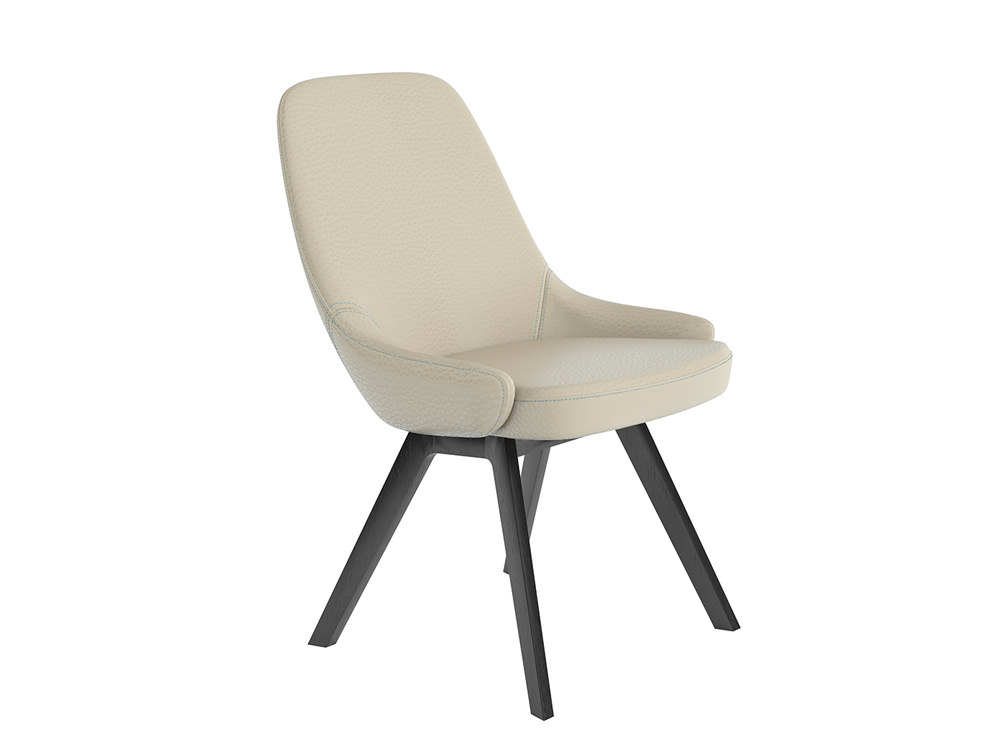 Downtown Soft Seating Office Chair with White Finish and Four Wooden Legs Base