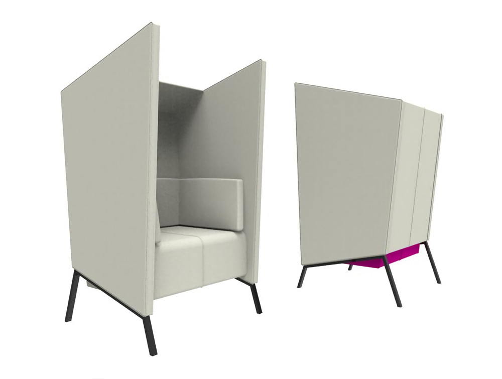 Anders 1 Seat High Back Chair with White Upholstered Finish and Purple Finish