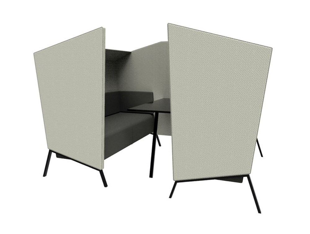 Anders 4 Seat High Back Chair with Black Cushion and Black Table