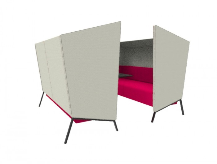 Anders 4 Seat High Back Chair with Pink Cushion and Black Table