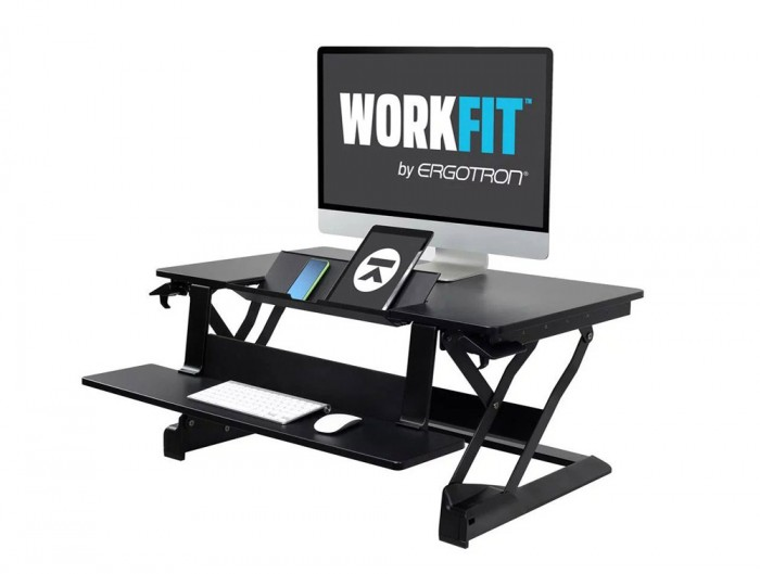 Ergotron WorkFit TLE Sit-Stand Desktop Workstation with Computer Monitor and Tablet