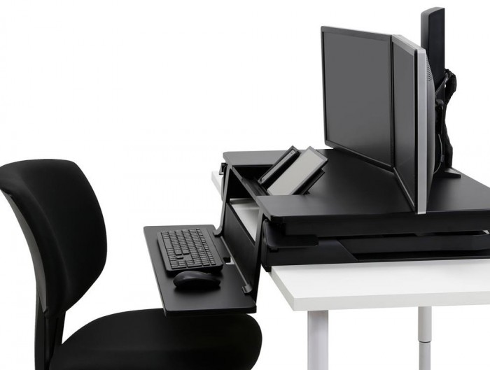Ergotron WorkFit TLE Sit Stand Desktop Workstation with Dual Monitor Arm