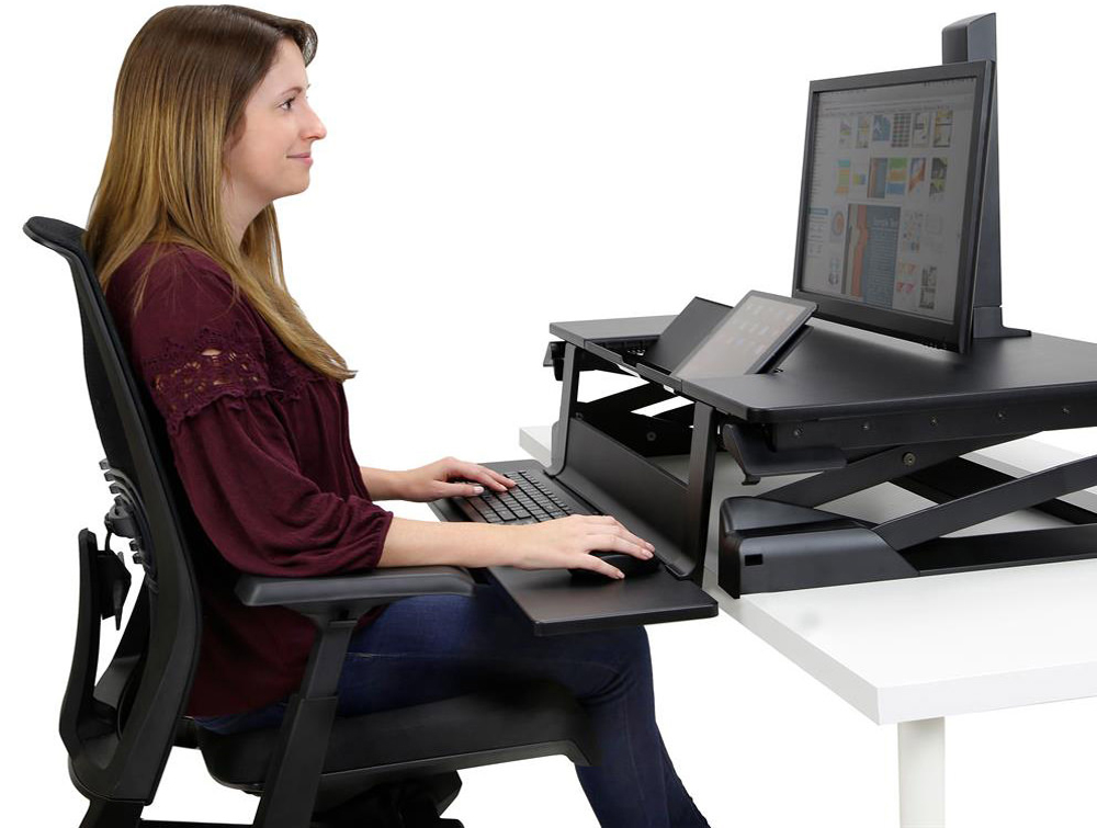 Ergotron WorkFit TLE Sit Stand Desktop Workstation with Mac Computer and Office Chair
