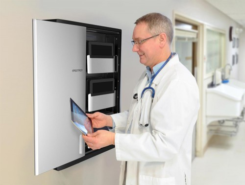 Ergotron Zip12 Charging Wall Cabinet for Hospitals and Schools