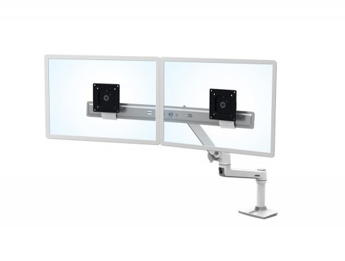 Ergotron LX Desk Dual Direct Arm in White with Under Mount C-Clamp with Height Adjustment System