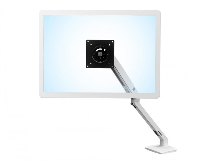 Ergotron MXV Desk Monitor Arm in White with Two Piece Clamp for Computer Screens
