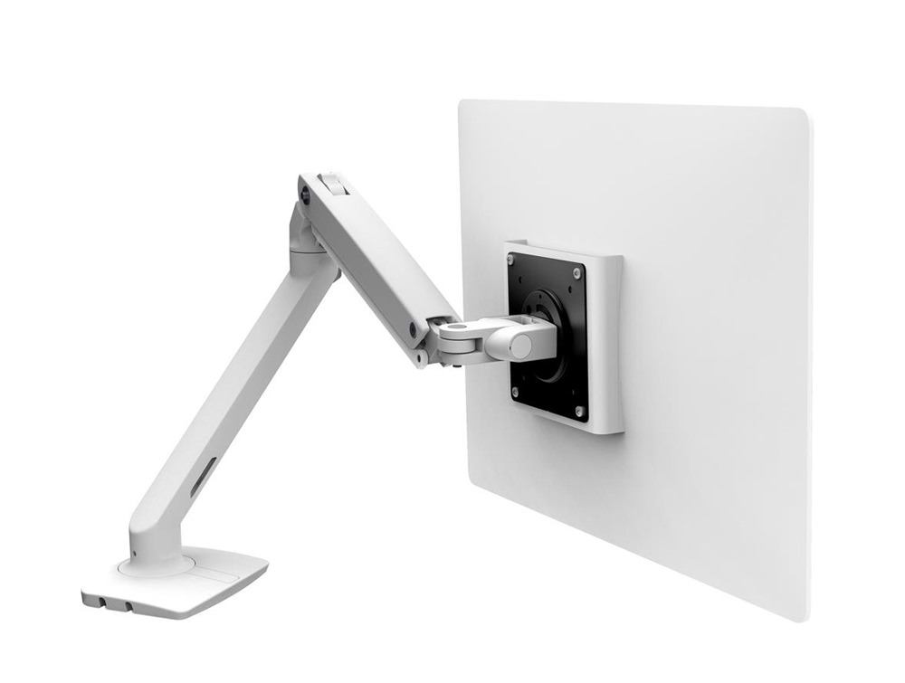 Ergotron MXV Desk Monitor Arm in White with Two Piece Clamp for LCD Monitors