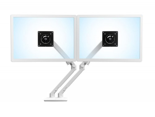 Ergotron MXV Desk Dual Monitor Arm in White with Two Piece Clamp for LCD and TV Screens