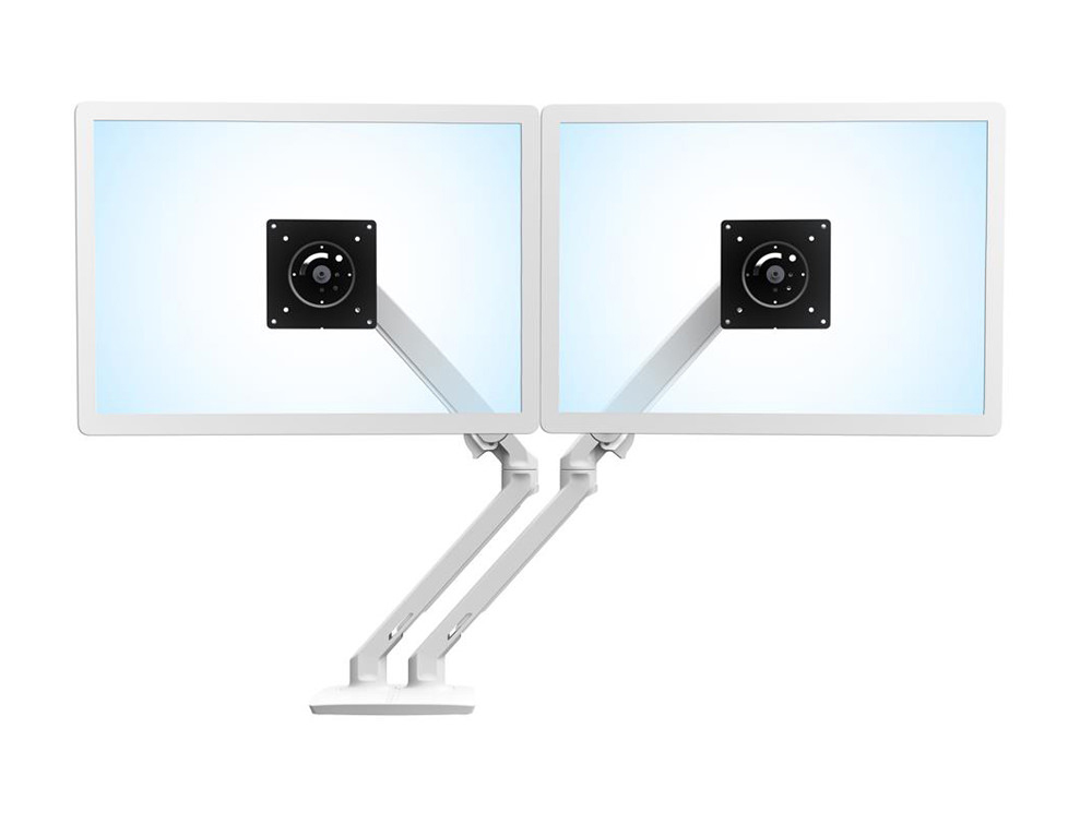 Ergotron MXV Desk Dual Monitor Arm in White with Two-Piece Clamp