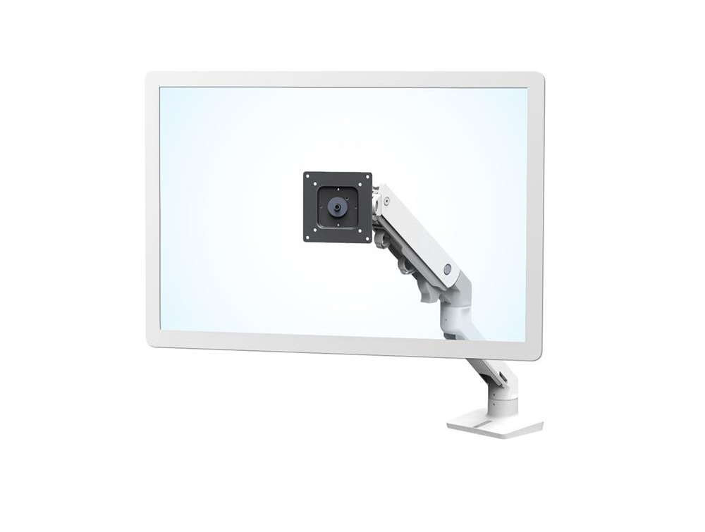 Ergotron HX Desk Heavy Monitor Arm in White with Two-Piece Clamp