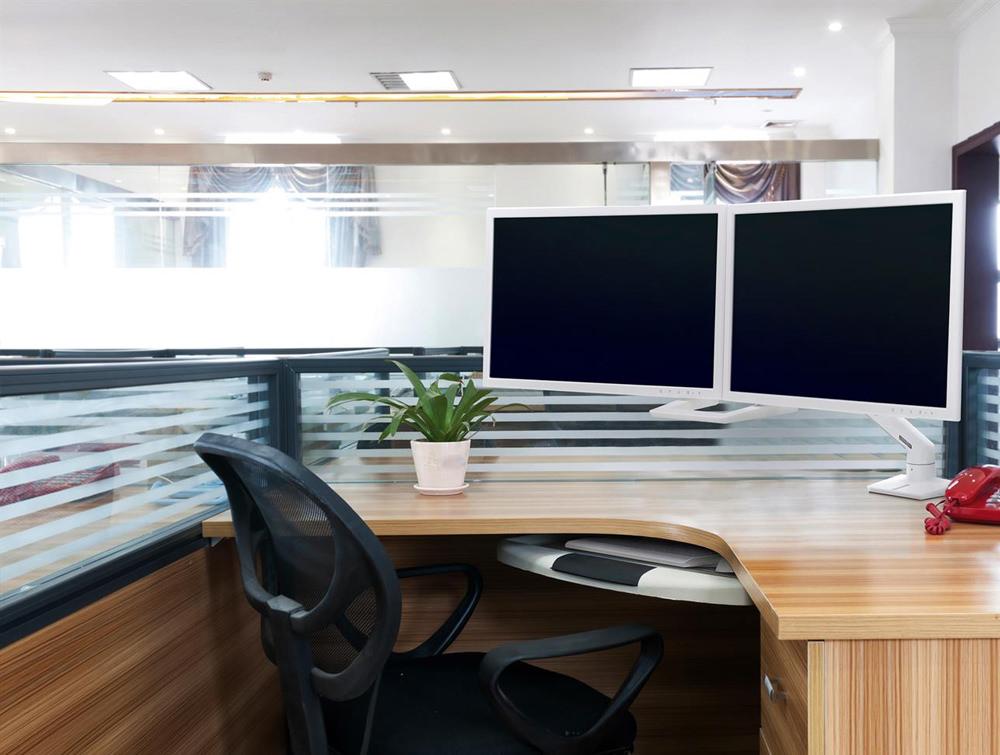low priced df3ec 6eadb Ergotron HX Desk Dual Monitor Arm in White with Two-Piece Clamp