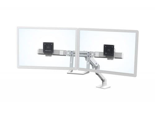 Ergotron HX Desk Dual Monitor Arm in White with Two Piece Clamp and Rotation Mechanism