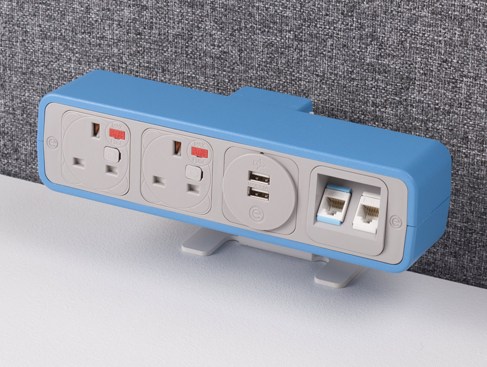 OE Pulse 8 On Surface Power Module with Light Blue Finish and Dual USB Port