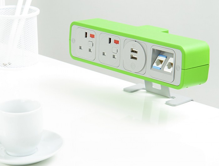 OE Pulse 8 On Surface Power Module with Lime Green Finish and Dual USB Port