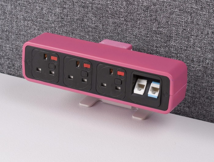 OE Pulse 8 On Surface Power Module with Pink Finish and Desk Clamping System