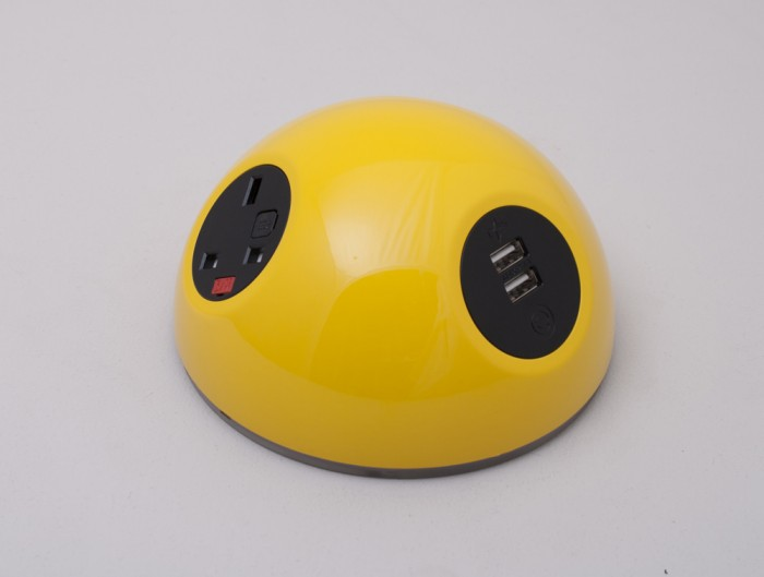 OE Pluto On Surface Power Module with Yellow Finish and Dual USB Port