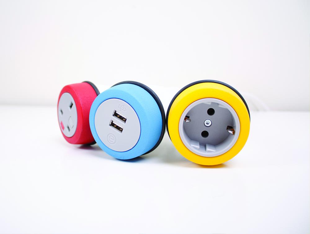 OE Pendulum On Surface Power Module with UK Power Socket and Yellow Finish