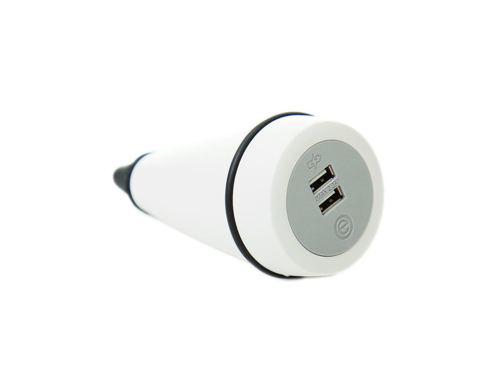 OE Pendulum On Surface Power Module with White Finish and Dual USB Ports