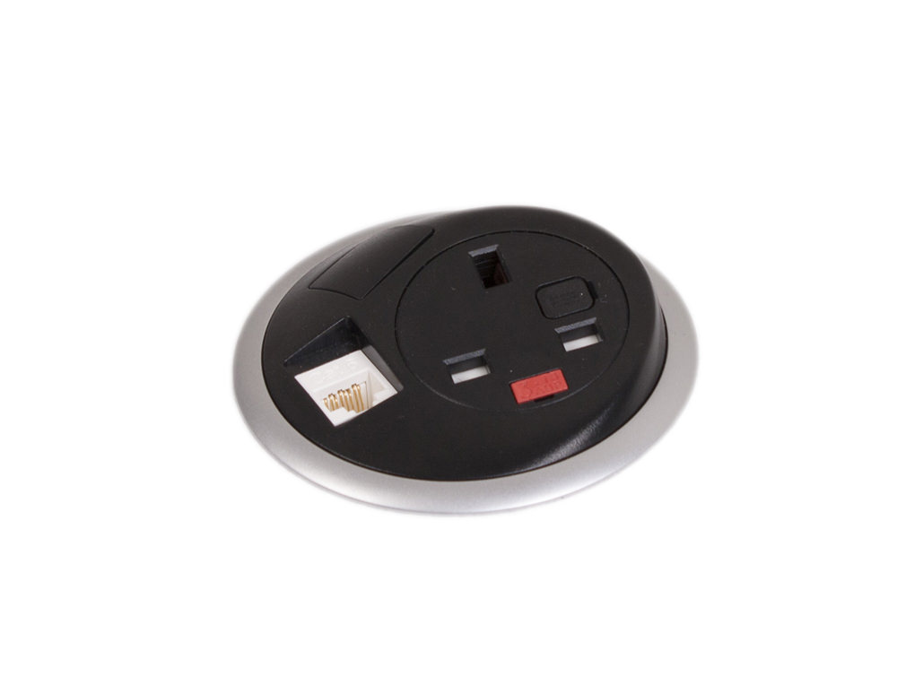 OE Pixel In Surface Power Module with White Finish with UK Power Outlet and Black Finish