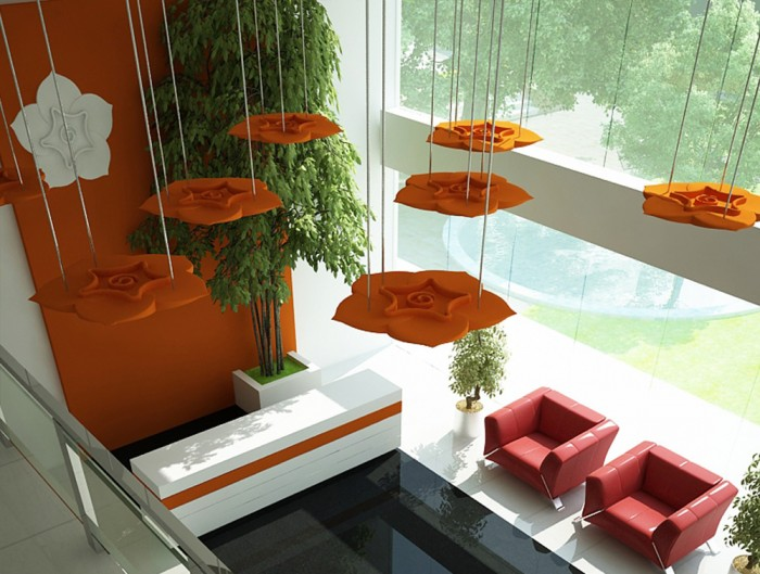 Soundtect Acoustic Panel Celeste in Orange Finish for Reception Areas