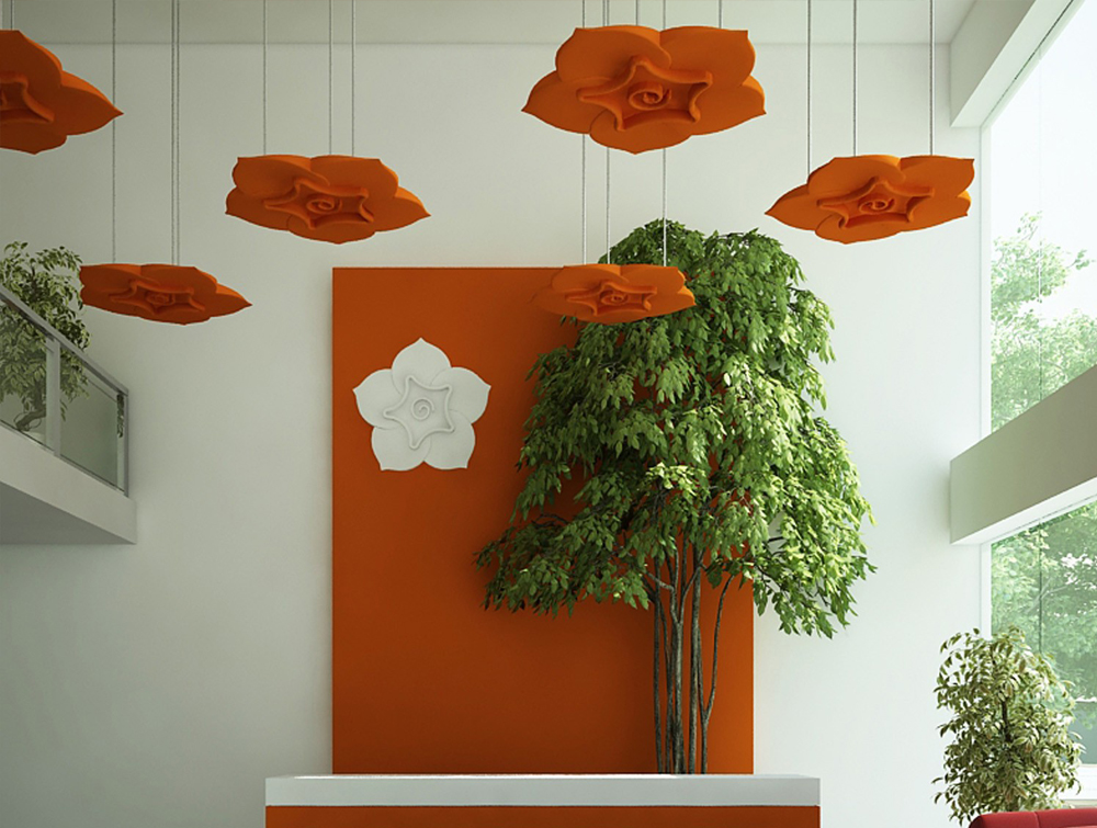 Soundtect Acoustic Panel Celeste with Ceiling Fixing system in Orange Finish