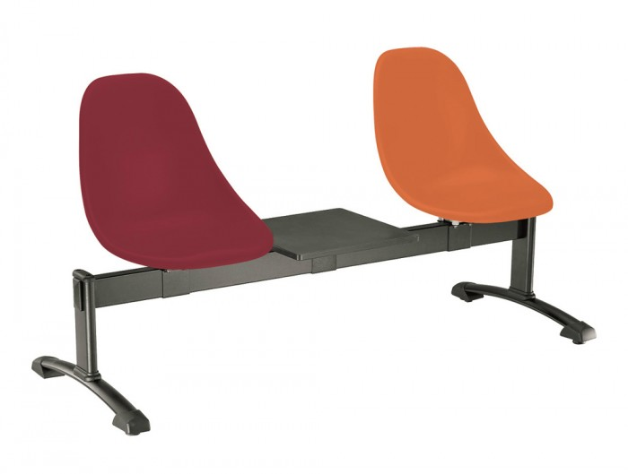 Gaber Harmony Beam Seating with Black Frame and Orange Finish
