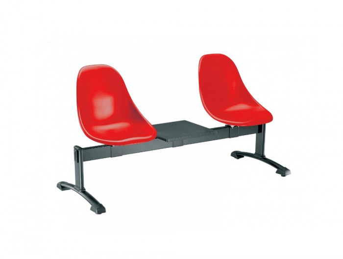 Gaber Harmony Beam Seating with Black Frame and Red Finish