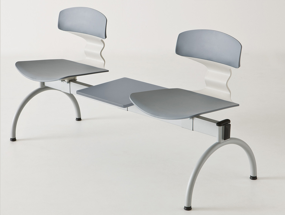 Gaber Tolo Beam Seating with Table and Grey Finish