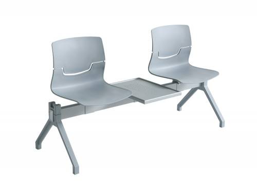 Gaber Slot Beam Seating with Grey Frame and Table