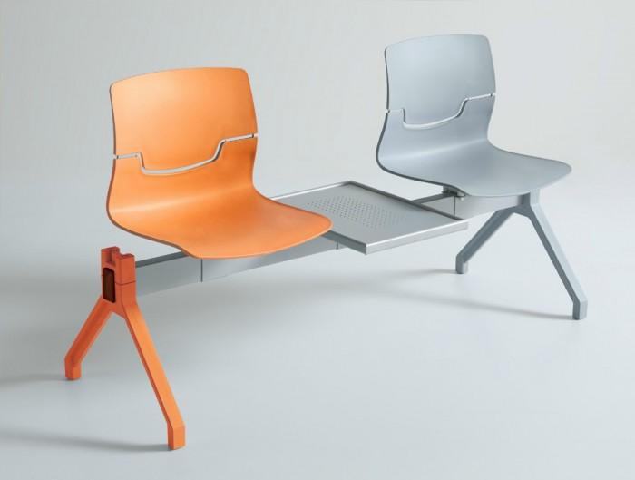 Gaber Slot Beam Seating with Orange and Grey Finish