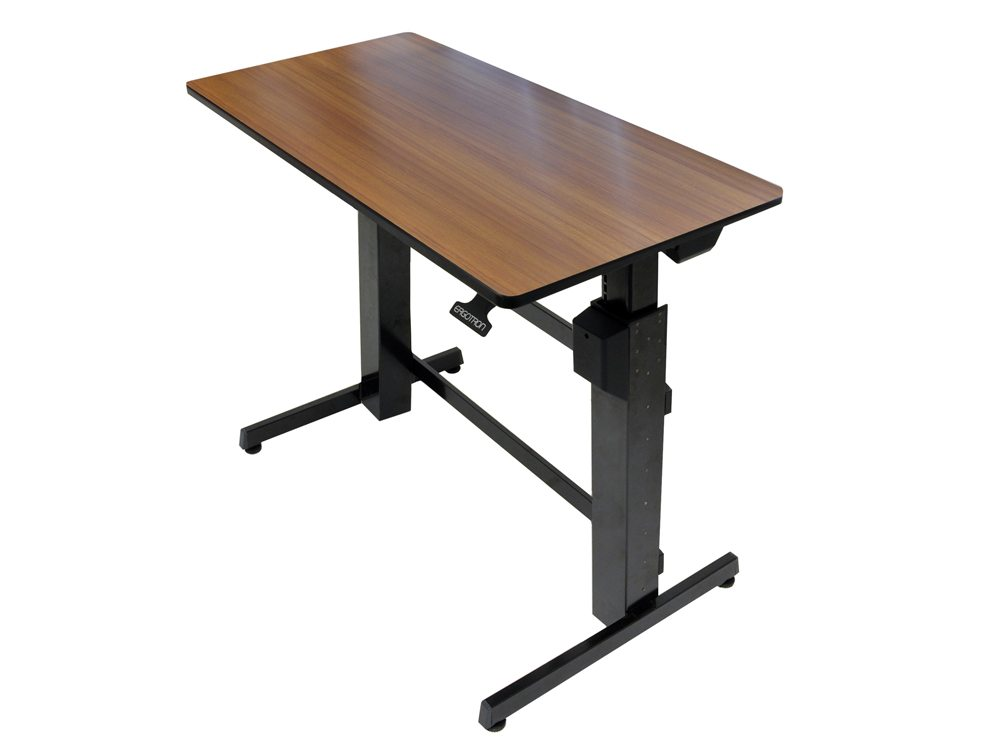 Ergotron WorkFit D Sit Stand desktop workstation in wallnut