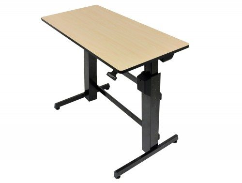 Ergotron WorkFit D Sit Stand desktop workstation in birch