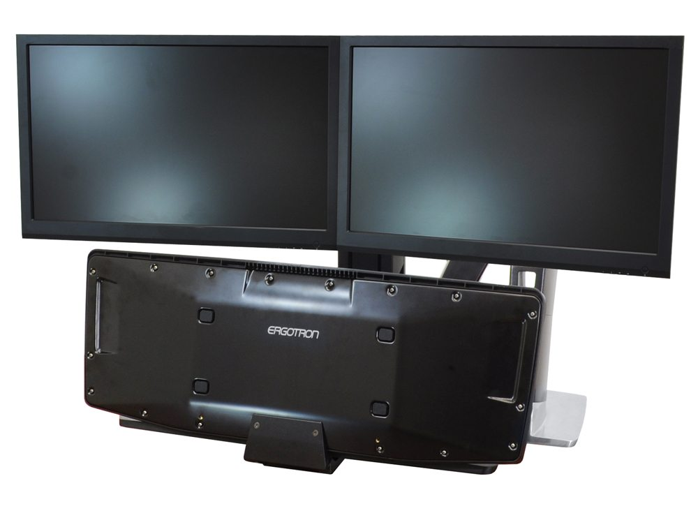 Ergotron WorkFit A dual monitor Sit Stand workstation front angle