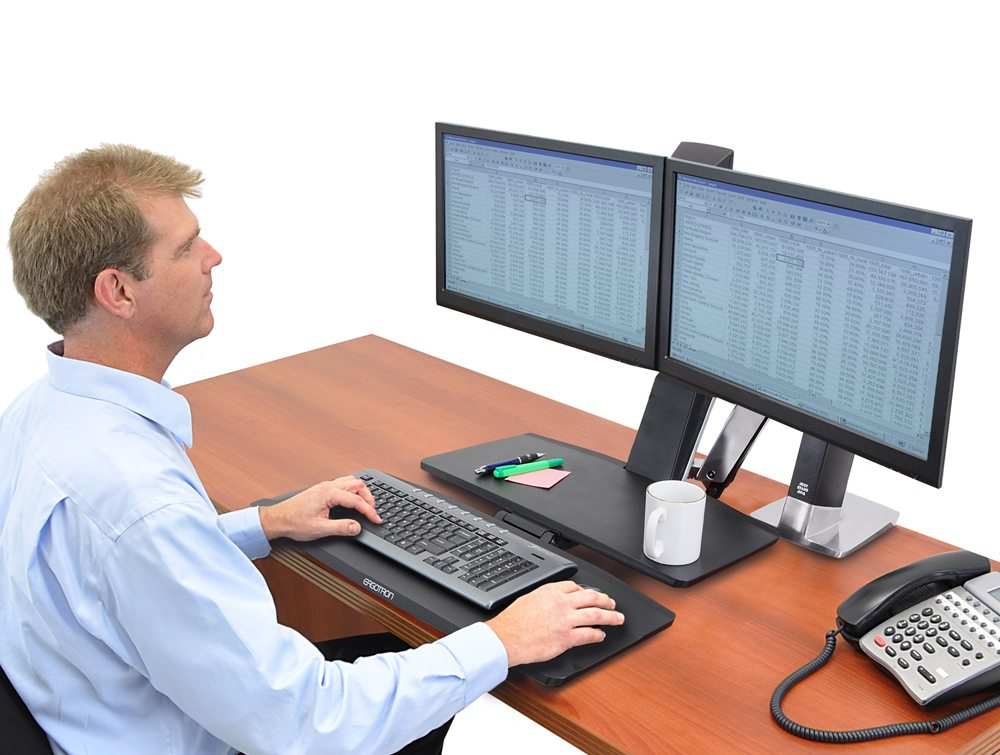 Ergotron WorkFit A dual monitor with worksurface