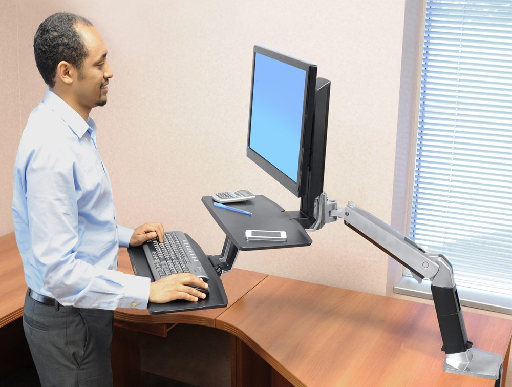 Ergotron WorkFit a single HD with suspended keyboard